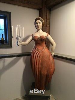 Folk Art Trade Figure, Life size Woman with Candelabra by K. William Kautz