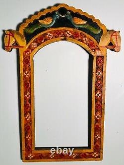 Folk Art Vintage Carved Wood & Painted Southwestern Frame, 2 Horse Heads & Birds