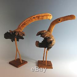 Folk Art Wood Carving Birds, Pair Burl Wood