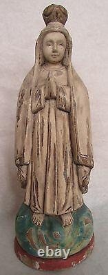 Folk Art Wood Hand Carved & Painted Praying Figure/Mary Pink & Blue 13