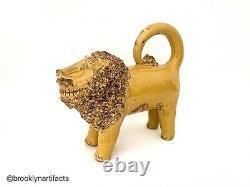 Folk Art Yellow Glazed Redware Shenandoah Lion Manner of Billy Ray Hussey