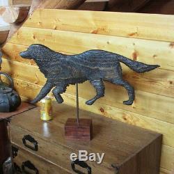 Folk art weather vane carved wood dog retriever spaniel setter carving art craft