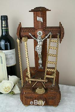 French tramp art wood carved Crucifix Christ cross folk artisan