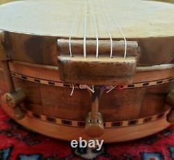 Fretless carved luthier built folkart minstrel banjo 5 string