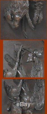 GERMAN BLACK FOREST CARVED ANTIQUE PLAQUE OF GAME ANIMALS 17 x 14 folk art