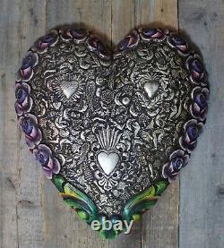 Giant Handmade Carved Heart Roses & Milagros Wood Mexican Folk Art Michoacán