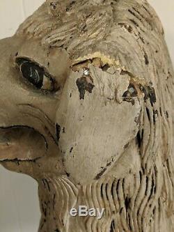 Gorgeous Large Antique Carved Wood Painted Sheep Lamp Nativity Folk Art