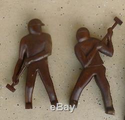 Great 9 Wpa Ashcan School Folk Art Wood Carvings Of Workers W Sledge Hammers