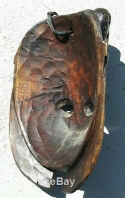 Guatemalan hand carving Wood Mask Mayan folks art Kukulkan chief Portrait
