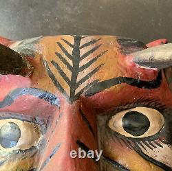 Guerrero Mexican Folk Art Carved Wood Mask Devil Diablo Real Goat Horns