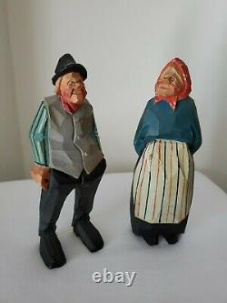 Gunnarsson Trygg Style Carved Wood Couple Swedish Folk Art SIGNED & Dated 1954