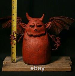 Halloween Little Demon Wood Carving, Chainsaw Carving, Wood Art, Folk Art, SHRUM