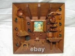 Hand Carved Country Log Cabin Kitchen Wooden Shadow Box Diorama Wood Folk Art
