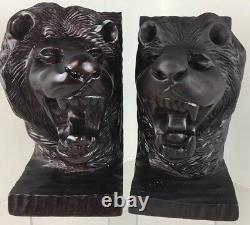 Hand Carved Lion Bookends folk art sculpture Black Forest Style