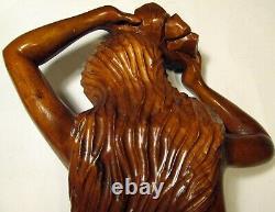 Hand Carved Teak Wood 36 Nude Statue Southeast Asia Folk Art Island Girl