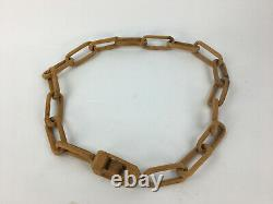 Hand Carved Wood Chain Ball In Cage Folk Art Whimsy Tramp Art 51 Long