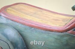Hand Made Carved Folk Art Rocking Horse Car Vintage Solid Wood Kids Toy