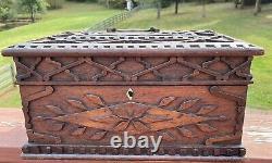 Handsome Antique Primitive Folk Art Walnut Wood Carved Document Storage Box 16