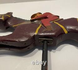 Hc Evans Wood Carved Carnival Racehorse Race Horse Folk Art 1920-1940