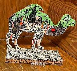 Howard Finster Camel of the Desert SIGNED Wood Cut Out 1990 Outsider Folk