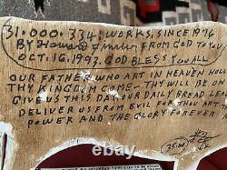 Howard Finster ORIGINAL SIGNED painting On wood OX+SOULS 1993 Outsider Folk Art