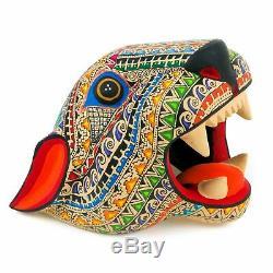JAGUAR CAT HEAD Oaxacan Alebrije Wood Carving Fine Mexican Folk Art Sculpture