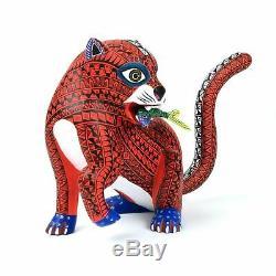 JAGUAR & FISH Oaxacan Alebrije Animal Wood Carving Mexican Folk Art Sculpture
