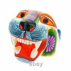 JAGUAR HEAD Oaxacan Alebrije Wood Carving Mexican Art Animal Sculpture Painting