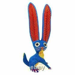 LARGE BLUE RABBIT Oaxacan Alebrije Wood Carving Mexican Folk Art Sculpture Decor