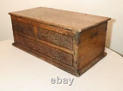 LARGE antique 1700's hand carved wood brass Folk Art box casket storage trunk