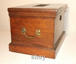 LARGE antique 1800s handmade carved wood brass Folk Art box casket storage trunk