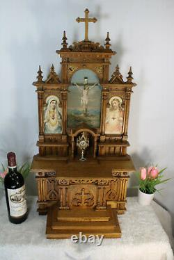 LArge church altar neo gothic wood carved folk art monstrance jesus mary