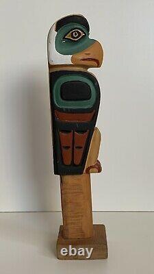 LEO JACOBS Carved Wood EAGLE TOTEM POLE Signed Tlingit NORTHWEST ART Alaska Folk