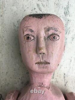 Large Antique Anatomically Carved Wood Folk Art Doll Primitive Toy Original