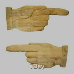 Large Antique Carved Double Sided Hand Pointer Directional Trade Sign Folk Art