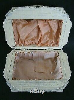 Large Antique Hand Carved Wooden Tramp Art Box Shabby Chic Cottage Folk Art