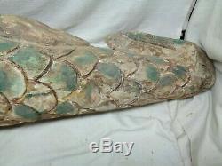 Large Hand Carved Wood Mermaid Vintage Nautical Folk Art 47 Long