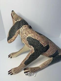 Large Impressive Wood Carved Folk Dog SIGNED Folk Art