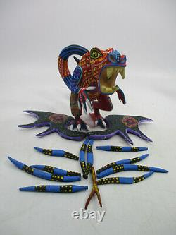 Large OAXACAN ALEBRIJE, colorful wood carving, signed mexican folk art sculpture