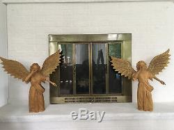 Large Pair Of Carved Wood Angel Statues with Wings Spread Vintage Folk Art W 24