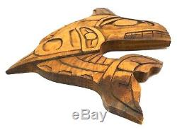 Lou-oakswan Nishga Tribe Wolf Clan Bc Vint Signed Killer Whale Wood Carving