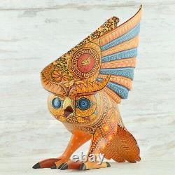 Magia Mexica A1999 Owl Alebrije Oaxaca Wood Carving Handcraft