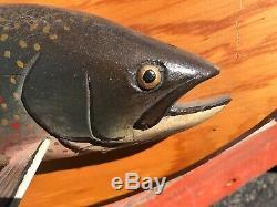 Maine Antique Wood Carved Trout Lawrence Irvine Fish Fishing Folk Art Primitive