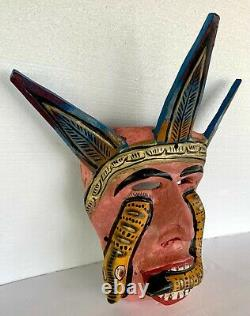 Mardi Gras Folk Art Carved Wood Devil King Snake Wall Face Mask Guerrero 14