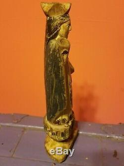 Mary Madonna Santos Saint wood antique polychrome religious carved folk art