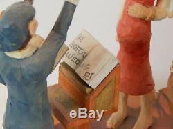 Master Carver Richard Jensen, NY Carved Wood Country Wedding Diorama -Folk Art