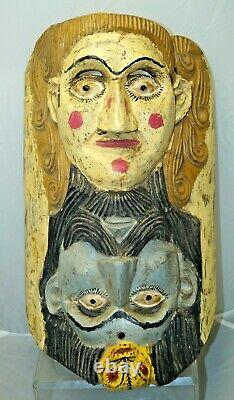 Mexican 1937 Hand Painted Carved Festival Folk Art Tribal Mask Tourist Piece