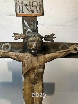 Mexican Cross with Christ Antique real hand carved folk art painted Vintage