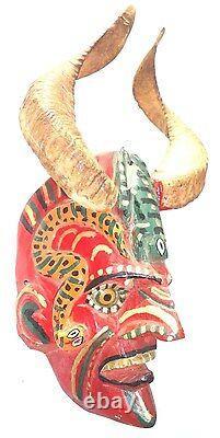 Mexican Folks Art old Carved Wood Devil Diablo Mask with Ram Horns & glass eyes
