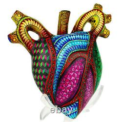 Mexican Wood Carving, HUMAN HEART Alebrije Oaxacan Folk Art, Oaxaca Mexico